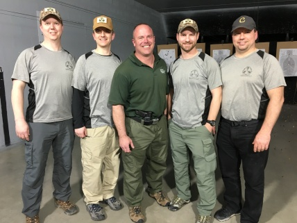 TSD instructors Chris and Nick with their brothers Adam and Brian, with Greg at the end of Extreme Close Quarters Gunfighting