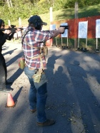Tactical Rifle student working transitions from the primary to secondary weapon system